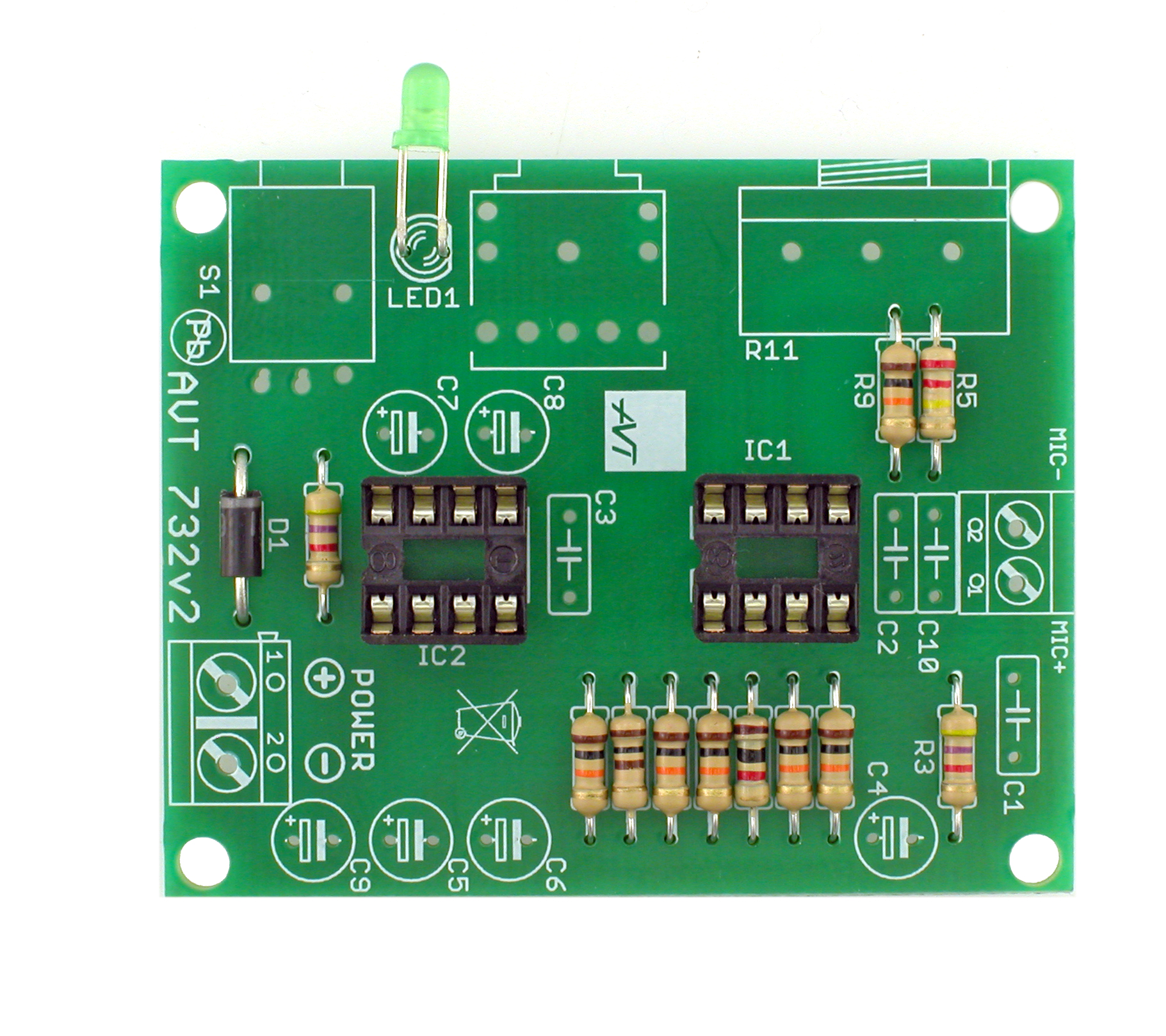 avt 732Microphone Amplifier With Tda7050 Ic #20