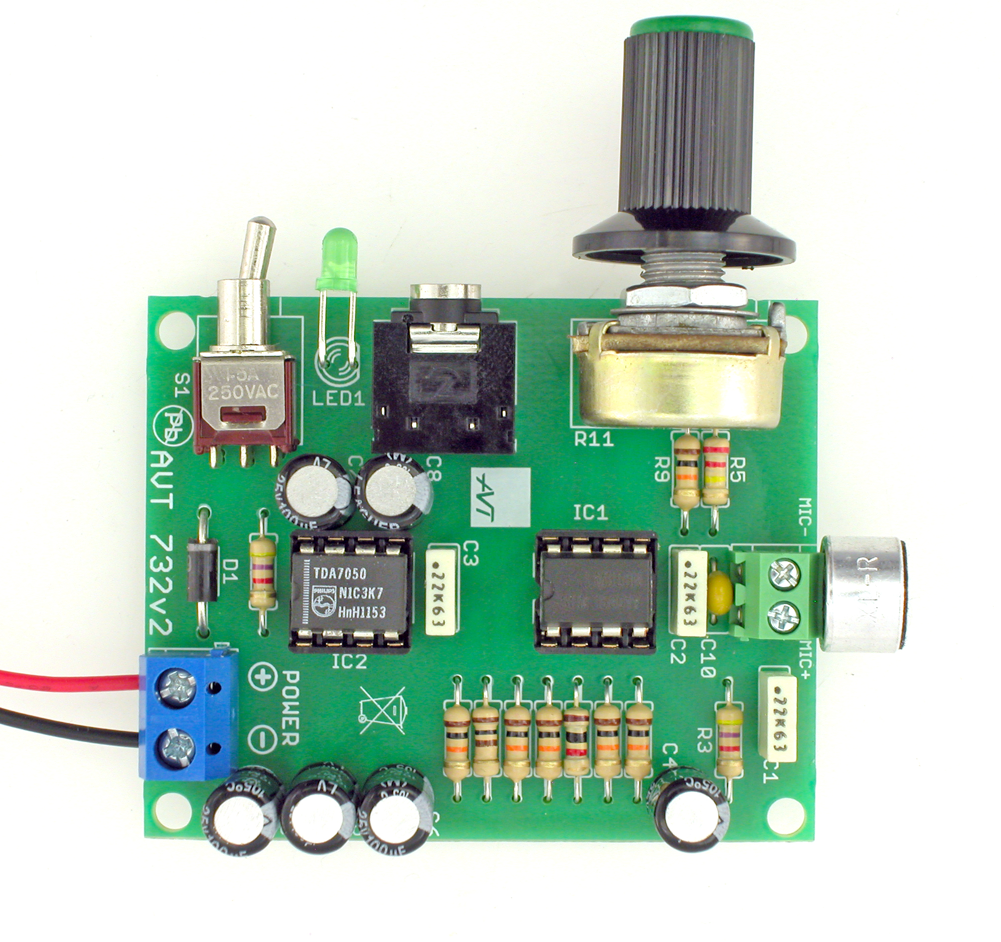 avt 732Microphone Amplifier With Tda7050 Ic #14